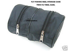 FLY REEL CASE TWIN CASE BLACK SOFT CASE FOR FLY REELS OR SPOOLS FREE POST