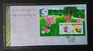 Singapore 1991 M/S 655 Singapore '95 Inter Stamp Exhib - Orchids (1st Issue) FDC