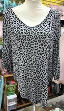 Blue Impus XL Gray Black Animal Cheetah  Shirt Top