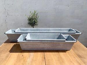 Long Zinc Trough Planter, Grey Metal Rectangle Plant Pot Window Box - 6 sizes
