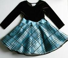 BONNIE JEAN GIRLS 4  DRESS BROWN BLUE * NEW * Long Sleeve Party Pageant  Wedding