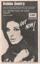 BOBBIE GENTRY Never Fall In Love Again 1969 mini UK Press ADVERT 7x5 inches