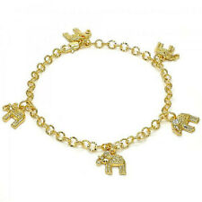 Brand New 9 CT Gold Filled Charm Anklet , Elephant Design, White Crystal E82