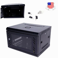 6U Wall Mount Network DVR NVR Data Cabinet Enclosure With Fan- Black