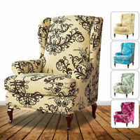 Wing Chair SlipCover Wingback Cover Printed Armchair Stretch Protector 2 Piece