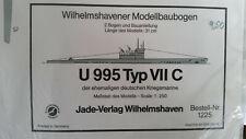 U-Boot U 995 Typ VII C Kriegsmarine Wilhelmshavener Modellbaubogen 1225