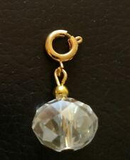 Clip on Bracelet Charm Gold Plated Crystal Sparkling Faceted 1cm with GP Clasp