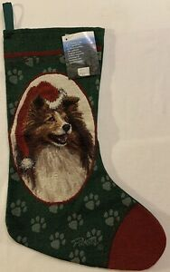 """NEW Collie Christmas Pet Stocking - Jacquard Woven - Green, Red w/Paw Prints 18"""""""