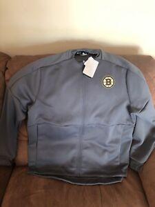 Adidas Game Mode Bomber Boston Bruins NHL  Gray Jacket NWT Size XL Men