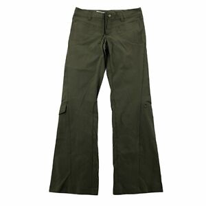 Athleta Womens 2 Olive Green Mid Rise Active Pants Cargo Pockets Flare