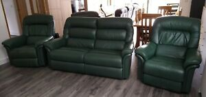 Genuine La-Z-Boy leather three-piece suite with recliner chairs (green)