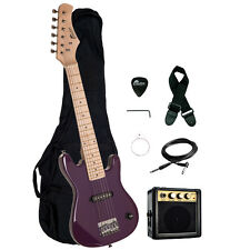 "Raptor 30"" Kids 1/2 Size PURPLE Electric Guitar Package with Amp, Gig Bag, Strap"