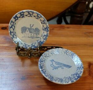 Rustic Vintage Beaumont Brothers Two Spongeware Stoneware Butter Pats House Bird