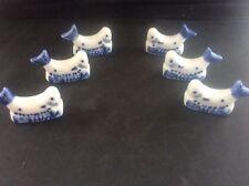 Set 6 Blue & White Pottery Ceramic Fish shaped Knife Rests Transfer Ware Mint