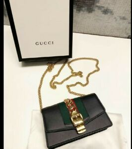 Gucci Sylvie Super Mini black Cross Bag Authentic