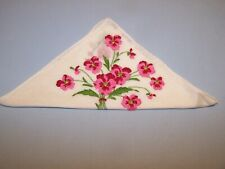Vintage Decorative Ladies Handkerchief #167 PINK RED EMBROIDERED PANSY