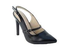 NEW Ladies Black Patent Faux Suede High Stiletto Heel Slingback Court Shoes Size