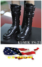 ❶❶1/6 kumik shoes FS-21 Black Widow Catwoman women black long Boot US seller❶❶