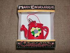 Nib Vtg Retired Mary Engelbreit Mini Red Watering Can w/ Flower Ornament Tea Pot