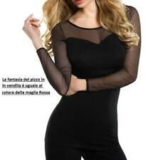 Maglia donna Cotonella manica lunga con scollo ampio in tulle di pizzo art GD186