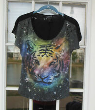 Wet Seal Junior's Graphic T-Shirt Multi-color Tiger Head, S