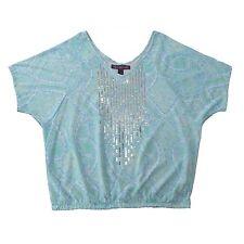 Gloria Vanderbilt Womens Blue Paisley Sequined Dolman Top Blouse Size M Or L