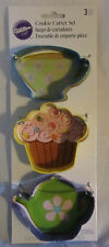 Wilton Cookie Cutter Cutters Metal Set Lot of 3 Tea Party Cup Cupcake Pot