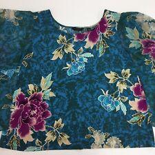 Investment Women's Blouse Plus 3 X Blue Floral