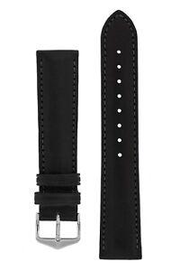 Hirsch MERINO soft artisan Nappa Leather Watch Strap In BLACK 19mm