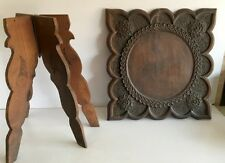 1890's India Antique Wooden Fine Hand Carved Lotus Floral Folding Rare Table