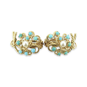 .Vintage 14ct Yellow Gold Turquoise & Pearl Ear Clips Val $2840