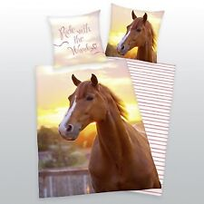 Herding ropa de cama con caballo 135 x 200cm 80 x 80cm 100% Algodón