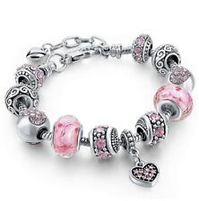 18K Gold Plated Heart Pink CZ Murano Charm Bracelet Made with Swarovski Elements