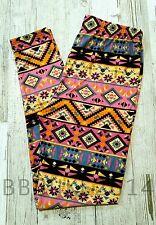 Aztec Leggings! Soft Graphic Print Pink Pastel PS TC Womens Plus Size NEW