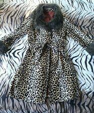 Vintage 70s glam rock velvet leopard print winter coat, size M