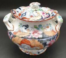 More details for lovely masons ashworth floral pattern victorian sucrier lidded sugar bowl c1888