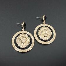Alloy Round Lion Head Dangle Stud Earrings Black Crystal Enamel Animal Jewelry