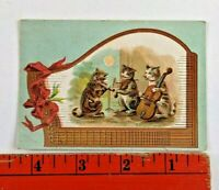 Vintage 1894 Cats Playing Instruments Cello Violin Band Music Victorian Card