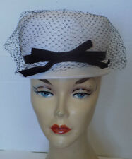 Vintage White Woven Hat Black Grosgrain Ribbon & Bow Black Veil Evelyn Varon
