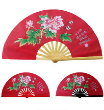 Chinese Kung Fu Tai Chi Martial art Wing chun Exercise Peony Fan Bamboo Red