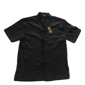 BNWT ORIENTAL CRAFT Men Black Asian Mandarin Shirt Short Sleeve Size Large G8