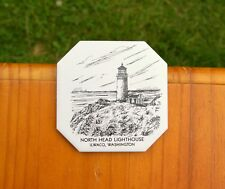 North Head Lighthouse Ilwaco, Washington Tile Coaster Sunflower Creations Or