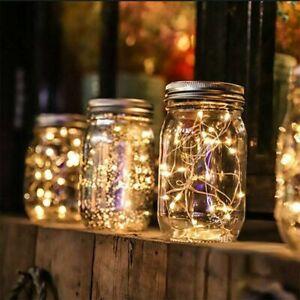 1/3/6Pack Solar Mason Jar Lid String Fairy Lights Outdoor Garden Lamps Decor UK