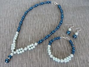 Pearls With Silver Plated Beads Necklace Bracelet And Earring Set   (ga30)