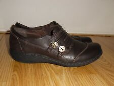 CLARKS COLLECTION Brown LEATHER Size 6.5 M FLATS SLIP ONS MARY JANES Shoes 16180