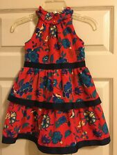Janie and Jack 2019 Resort Red Floral Dress Girls EUC Size 4