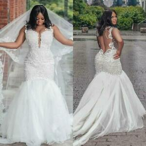 Mermaid Wedding Dresses Plus Size Backless Lace Applique Deep V Neck Bride Gowns