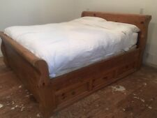 California King Wooden Bed Frame with Storage drawers