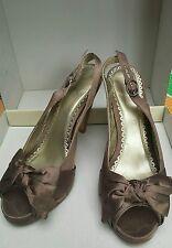 NEXT Brown Silk Peep toe heeled Shoes