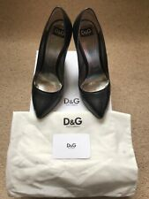 D&G Dolce Gabbana Designer Black Leather Court Heels Net-A-Porter Size 5.5 38.5